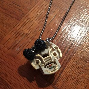 Hand painted skull/phone Jack necklace